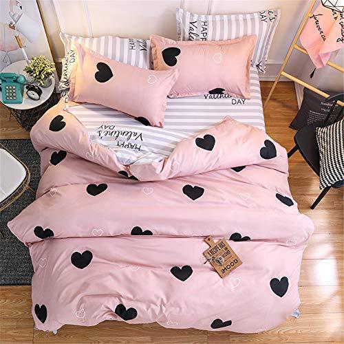 Morbuy Bettwäsche Bettbezug Set, 3 Teilig Bettgarnitur Bettwäsche - Set Gemütlich 100% Mikrofaser mit Reißverschluss 1 Bettbezug + 2 Kissenbezug (135x200CM, Schwarzes Herz)