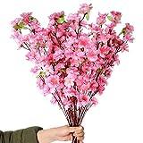 Ramas de flor de cerezo con tallos largos, 10 piezas de flores artificiales de cerezo para decoración del hogar, boda, hotel, jardín, árbol, color rosa