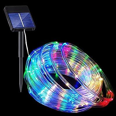 Solar Rope Lights, 33FT 100LED 8 Modes Solar Ro...
