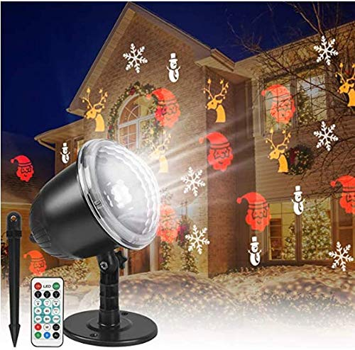 Christmas Projector Lights, Indoor Outdoor Waterproof LED Snowfall Projection Lamp with Remote Control for Christmas Theme Party, Holiday, Home Birthday Party and Garden Deco (Black)