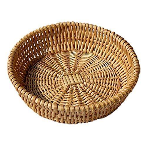 Wicker Fruit Basket Bread Basket Tray Storage Basket Willow Handwoven Basket Fruit Vegetables Serving Basket, Round Wicker Bowls(1 Pack-L)