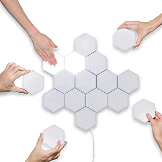 Wan&ya Lámpara de Pared Hexagonal DIY Luz cuántica Conjunto de geometría Creativa LED Luz de Noche Iluminación de inducción táctil Modular Lámpara de muralla,10pieces