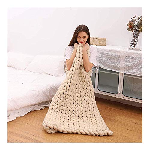 CHICTI gebreide deken, groot, gebreide deken, handgeweven, acryl-polyester, grof sprei, bed, sofa, warm voor thuisdecoratie A