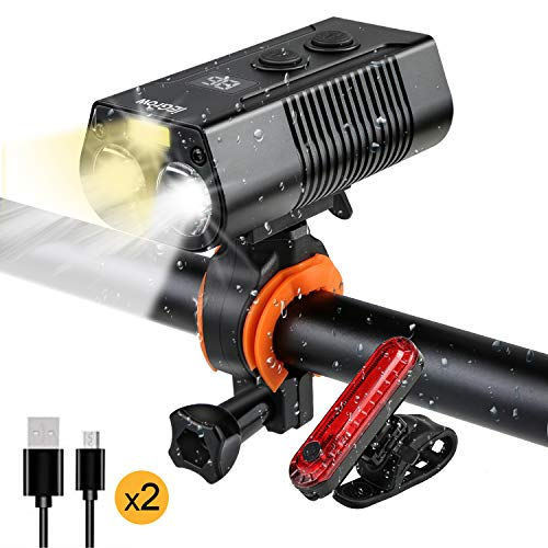 Rechargeable Front and Rear Bike Lights Set,IPX6 Waterproof Super Bright Led Front Headlight and Cob Flash back Taillight,1800 Lumens-4000 mAh for Men Women Kids Road Mountain(2 USB Cables Included)