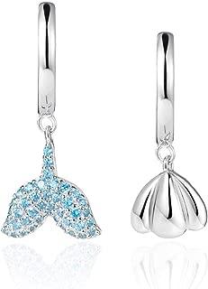 Dangle Hoop Earrings for women Diamond Drop Nickel Free Earrings for Sensitive Ears Hypoallergenic Sterling Silver Lever Back Huggie Dangler Blue Topaz Crystal Cubic Zirconium Dangling Fashion Jewelry