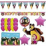 Shopama - Globos de decoración para cumpleaños, diseño de Masha y el Oso, con globos de Mylar, de látex, con guirnaldas y mantel, color rosa fucsia