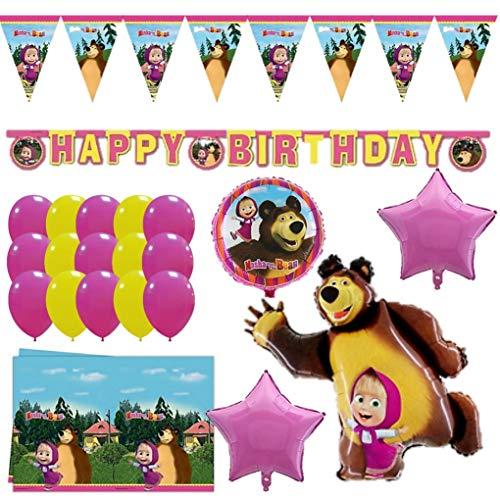 Shopama Palloncini e Decorazioni Compleanno Masha e Orso Bambina Bambino Festone tovaglia Festa di Compleanno Bambini Rosa Giallo Fucsia Set Completo