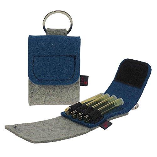 Premium Schlüsselanhänger-Taschenapotheke von ebos   Reiseapotheke aus echtem Wollfilz   4 Schlaufen für Globuli-Röhrchen, Globuli-Tasche zur Aufbewahrung von homöopathischer Hausapotheke   jeansblau