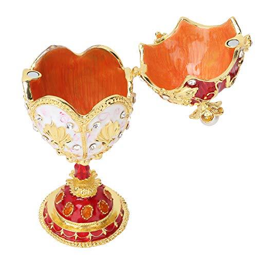 Tnfeeon Fabergé Caja de baratijas de Huevo, Caja de baratijas de joyería Pintada a Mano, Adorno, Organizador de Joyas de Diamantes, Caja de baratijas esmaltadas, Huevo de Pascua esmaltado para