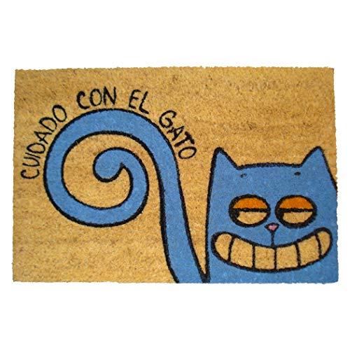 Koko Dormats Felpudo para Entrada de Casa Original Divertido, Gato, Fibra de Coco y PVC, 40x60cm