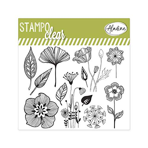 Aladine - Stampo Clear - Tampons Transparents Créatifs - DIY et Scrapbooking - Placement Précis des Motifs - Planche Tampons en Silicone (STAMPO Clear Fleurs)