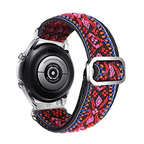 YOOSIDE Uhrenarmband für Garmin Venu/Vivoactive 3, Stickerei, Ethno-Stil, dehnbar, elastisch, verstellbar, 20 mm, Schnellverschluss-Armband für Garmin Venu Sq, Vivomove 3/Luxe/Style