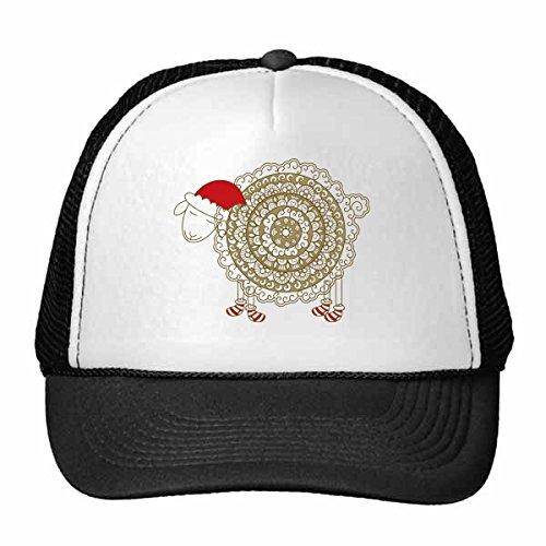 DIYthinker Cartoon-Schaf-Weihnachten-Hut Socken Illustration Muster Trucker-Mütze Baseballkappe Nylon Mütze justierbare Kappe Erwachsener