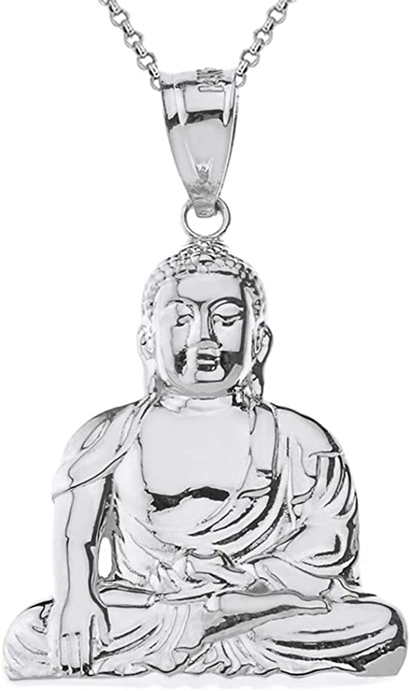 Buddha Pendant  Buddhism Pendant  Buddhist Pendant  Meditation Pendant  Peace  Enlightenment  Tantra  Mantra  Sterling Silver