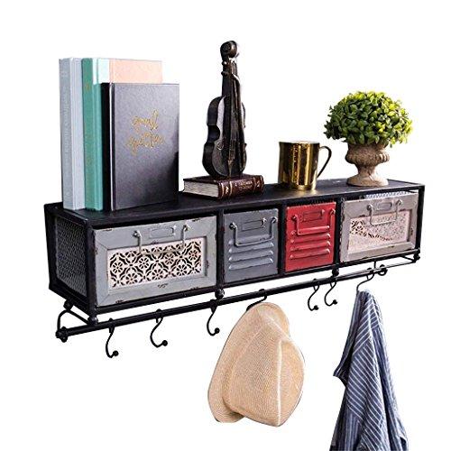 Baldas flotantes Estante de pared de hierro de metal con cajones para sala de estar | LOFT estante del cubo colgante de pared para el dormitorio como estante de almacenamiento de estantería | Cuadro d