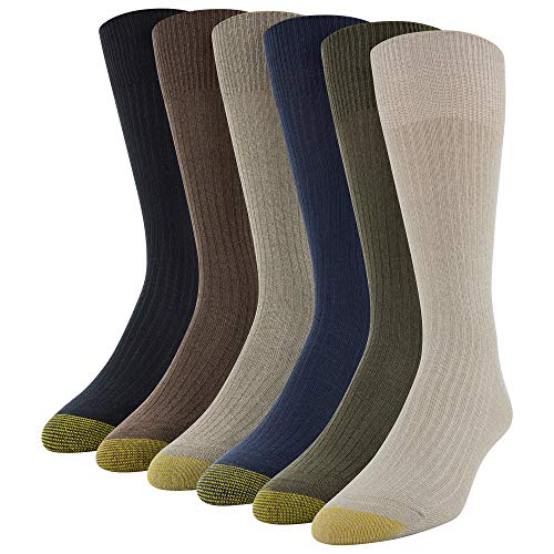 Gold Toe Men's Stanton Crew Socks, 6 Pairs, Khaki Marl Assorted, Shoe Size: 12-16