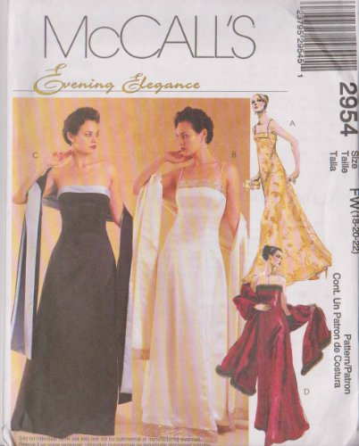 McCall's Damen Schnittmuster 2954 für Kleider und Stola Abendkleid, elegant, Gr. 46-52