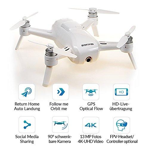 Yuneec Breeze kompakter Quadrocopter mit Premium 4K-UHD-Kamera (24 cm Durchmesser, 4K UHD Videofunktion, 13 MP)   Weiss