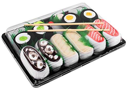 Rainbow Socks - Damen Herren - Sushi Socken Lachs Butterfisch Tintenfisch 2x Maki - Lustige Geschenk - 5 Paar - Größen 41-46