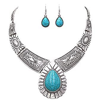 Rosemarie Collections Women's Southwest Teardrop Pendant Stone Statement Necklace Earrings Jewelry Set  Turquoise Color