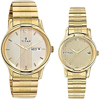Titan His and Her Beige Dial Metal Band Watch Set - T15802490YM04