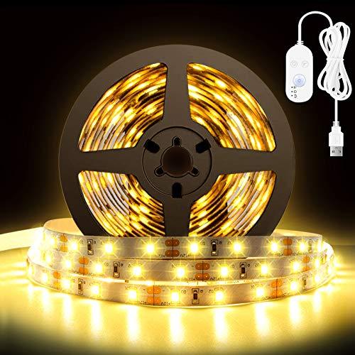 LEDテープライト 電球色 5m ストリップ ライト イルミネーションライト 人感 明暗 センサー付き 無段階 調光 間接照明 正面発光 切断可能 両面テープ 取付簡単 USB給電式 台所/廊下/ドア/玄関 装飾用 祝日用 日本語説明書付き