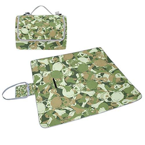coosun Totenkopf Camouflage Muster Picknick Decke Tote Handlich Matte Mehltau resistent und wasserfest Camping Matte für Picknicks, Strände, Wandern, Reisen, Rving und Ausflüge