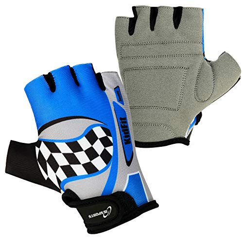 3S Sports Gepolsterte Fahrradhandschuhe für Kinder, Jungen, Mädchen, BMX, Blau / Grau, XXS
