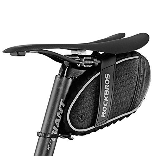 ROCKBROS Fahrradsatteltaschen Satteltaschen Sitztaschen Fahrradtasche Wasserabweisend beim Leichten Regen Reflektierend (Schwarz 1)