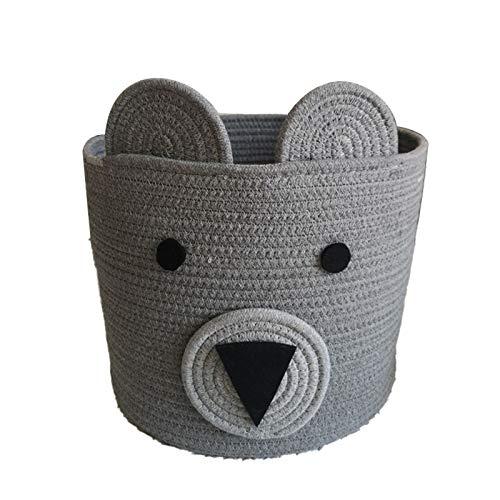 SHILONG Cuerda De Algodón Plegable Cesta De Ropa para Niños Decoración De La Cesta De Los Niños Cesta De Lavandería Animal Lindo, Tela Plegable para El Hogar (Color : Gray)