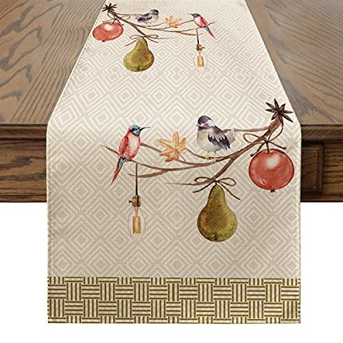 Artoid Mode Camino de mesa de acuarela con diseño de pájaros, hojas de otoño, cosecha, vintage, lavable, moderno, mesa de comedor, decoración para interior y exterior, fiesta de casa, 40 x 140 cm