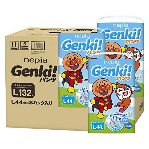 【パンツ Lサイズ】ネピアGENKI! アンパンマン おむつ (9~14kg)132枚(44枚×3) [ケース品]