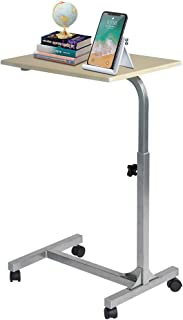 PexFix Laptop Desk, Overbed Table with Lockable Wheels, Mobile Sofa Side Table Rolling Standing Desk Height Adjustable Eating Tray Table - Wood