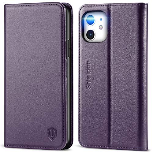 SHIELDON iPhone 11 Case, Genuine Leather iPhone 11 Wallet Folio Case Magnetic Closure RFID Blocking Card Slots Kickstand Shockproof Case Compatible with iPhone 11 (6.1 inch, 2019) - Dark Purple