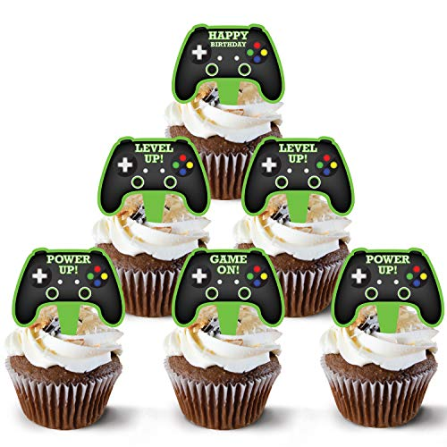 Video Game Controller Cake Topper 48 Count - Gamer Cake Topper Decoration | Video Game Cupcake Topper Supply | Game Controller Cupcake Toppers Design | Game Controller Cake Topper Theme By Pretty Cute Studios