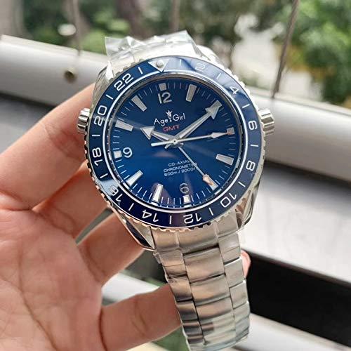VODRICH Klassische Herren Automatik Mechanische Uhr Independent GMT Luminous Rubber Blue Keramik Lünette Saphir Schwarz Leder Blau