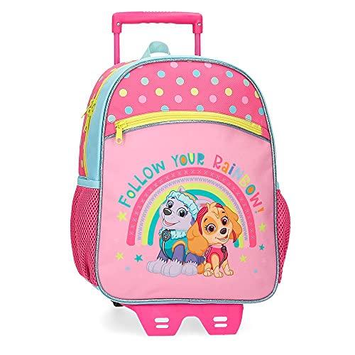 Paw Patrol Paw Patrol Follow Your Rainbow cabinekoffer roze 38 x 55 x 20 cm, Violeta, 27x33x11 cms, Rugzak 33