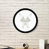 DIYthinker Mariposa Blanca Abstracta de Origami patrón de la Pintura del Arte de Fotos de imágenes de Madera Marco Redondo Regalo a casa decoración de la Pared Medio Negro