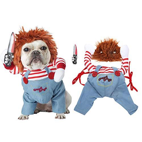 joyliveCY Tödliche Puppe Hundekostüm Weihnachtsfeier Hundebekleidung Neuheit lustig Haustiere Party Cosplay Bekleidung Haustier-Kleidung Geeignet für große und mittlere Welpen Mit Einer Perücke(M)