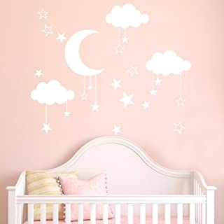WOCACHI Wall Stickers Decals DIY Large Moon Star Wall Decals Children's Room Home Decoration Art Art Mural Wallpaper Peel & Stick Removable Room Decoration Nursery Decor