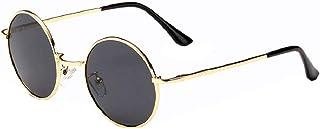 KIRALOVE - Gafas de sol redondas - hippie - Retro - Hippie - Idea regalo - años 70 - ovaladas - cumpleaños - vintage - lente oro montura negra