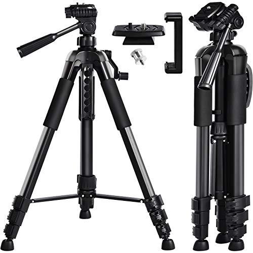 Dreibeinstativ, papasbox Kamera Stativ Höhe: 160cm mit Handy Halterung, Leichtes Aluminium Stativ für Handy, Kamera, Beamer und Lasermessgeräte mit 1/4 Zoll Gewindeschraube, inkl. Tragetasche