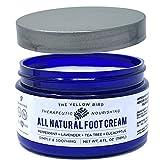 The Yellow Bird Natural Foot Cream - Dry Feet Balm , Cracked Heel Moisturizer, Organic Athletes Foot Repair Salve with Tea Tree Oil & Peppermint. Moisturizing Callus Care, Toenail Treatment Creme
