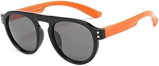 Gosunfly - Gafas de sol deportivas para niños polarizadas contra el viento-Patas naranjas con marco negro_Luz polarizada / TAC