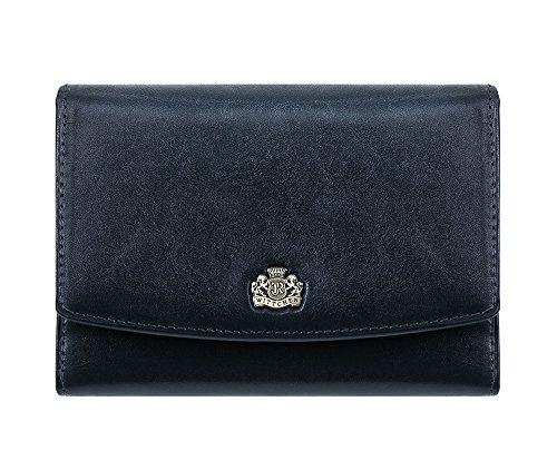 WITTCHEN portafoglio, Blu Marino, Dimensione: 10x14 cm - Materiale: Pelle di grano - 10-1-062-N