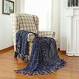 Decorative White Dot Navy Throw Blanket, Soft Dark Blue Chenille Woven Blanket with Tassels for Farmhouse Boho Décor, 50' x 60'