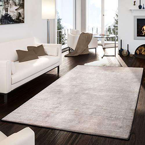 T&T Design Teppich Handgemacht Modern Edel Hochwertig Viskose Baumwolle Meliert Beige, Größe:120x170 cm