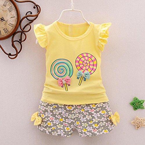 ASHOP Bebé y Niñas Ropa Camiseta Lollipop + Pantalones Cortos de Flores (Amarillo, 12-18 Meses)