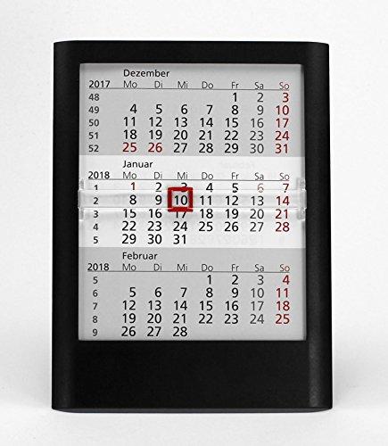 HiCuCo 3-Monats-Tischkalender für 2 Jahre (2021 und 2022) - Aufstellkalender - schwarz - TypW1