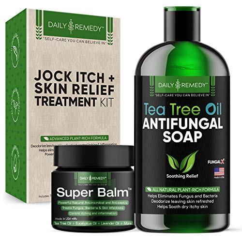 Daily Remedy All Natural Jock Itch and Skin Relief Treatment Kit - Includes Tea Tree Oil Body Wash and Antifungal Balm - Get Rid of Athletes Foot, Itchy Skin, Fungal Infections and Body Odor